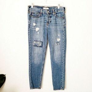 Hollister 25 Distressed Patchwork Boyfriend Jeans